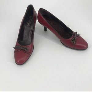 Coach Red Heels with Bow
